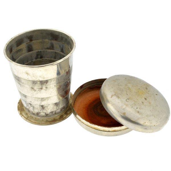 Antique Nickle Plated Brass Civil War Folding Tin Cup