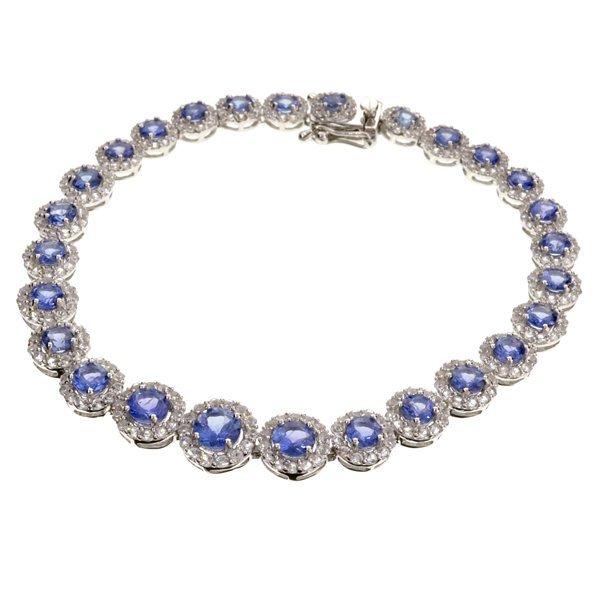 APP: 7k 6CT Round Tanzanite & Sapphire Silver Bracelet
