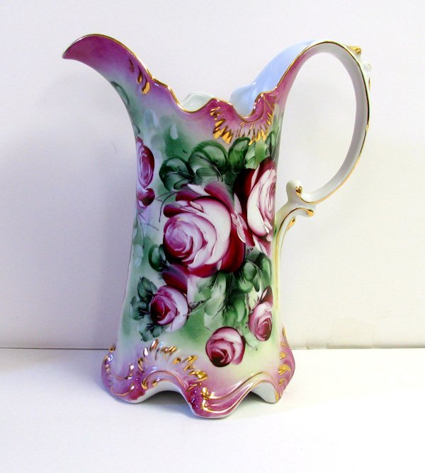 Pitcher- Hand Painted  Pink Flowers