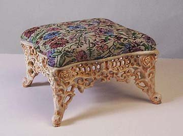 Cast Iron Footstool w/Ivory Base