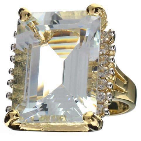 APP: 29k 14kt Wt/Yl Gold, 22CT Aquamarine & Topaz Ring