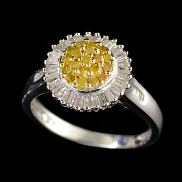APP: 3k Diamond 14kt. White & Yellow Silver Ring