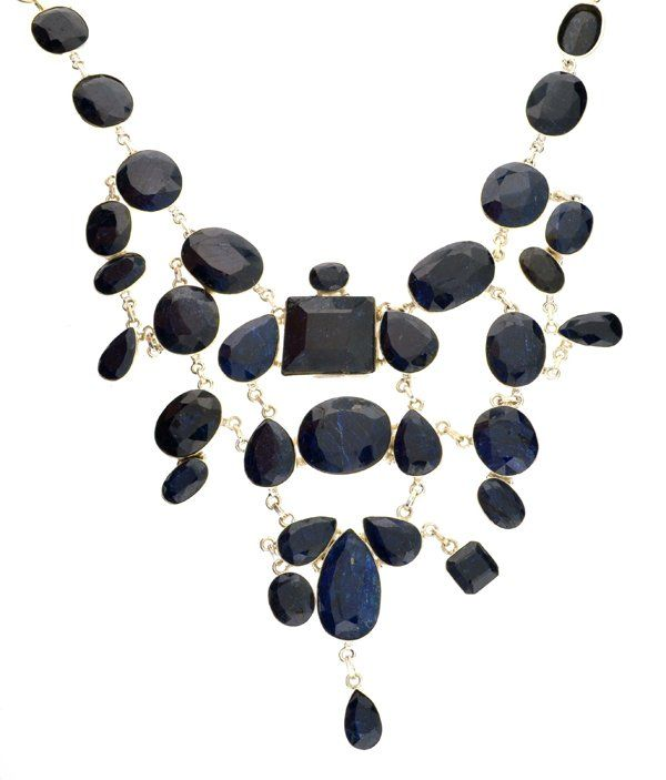 APP: 35k 538CT  Mixed Cut Sapphire & Silver Necklace