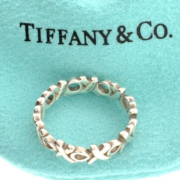 Tiffany & Co. Picasso Silver Hugs Kisses Ring Size 5