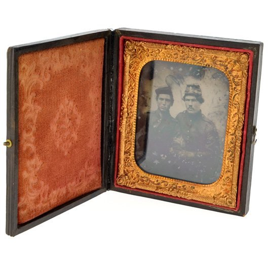 """Civil War Ambrotype Of Two Soldiers """"Pards"""""""