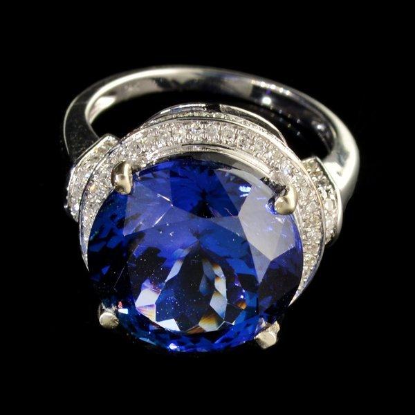 APP: 62k *14kt White Gold 13CT Tanzanite & Diamond Ring