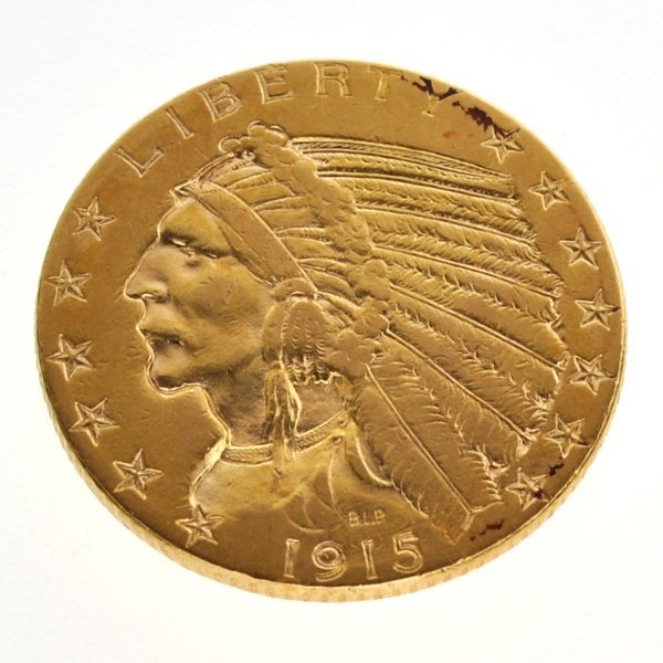 1915 $5 US Indian Head Gold Coin - Investment