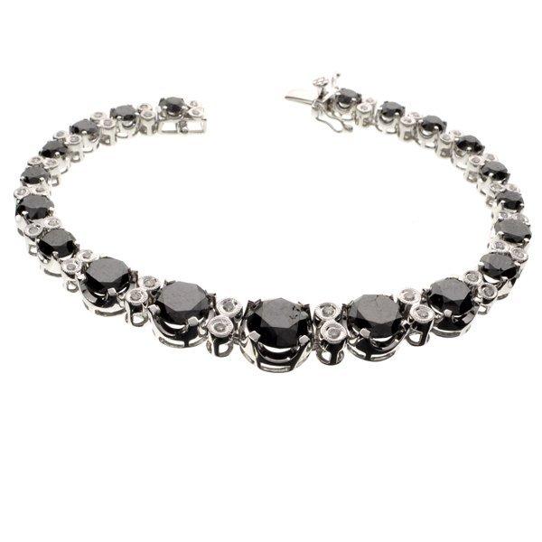 APP: 15k *14kt White Gold, 16CT Black Diamond Bracelet