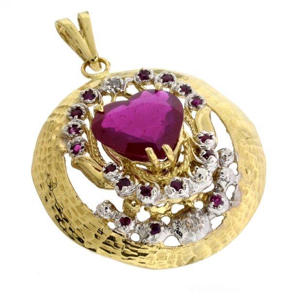 APP: 18k 14 kt Yl/Wt Gold Corundum & Diamond Pendant