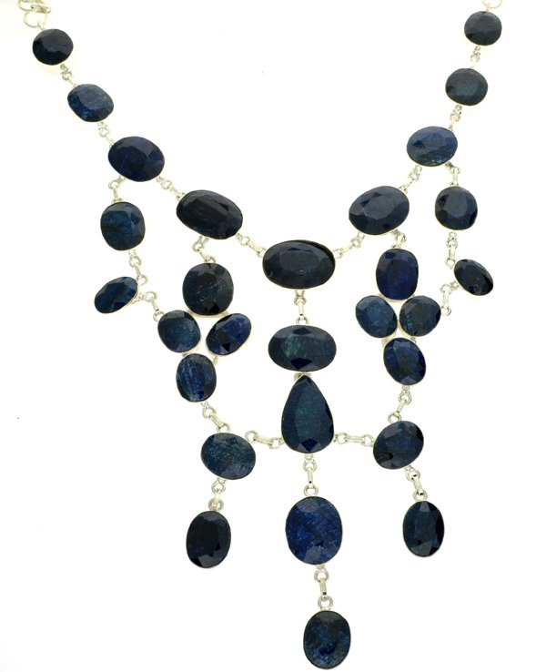APP: 28k 427CT  Mixed Cut Sapphire & Silver Necklace