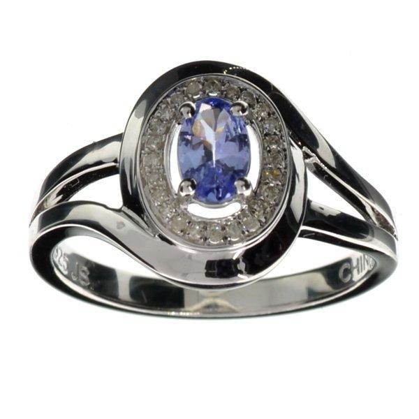 APP: 3k  Tanzanite & Diamond Sterl Silver Ring