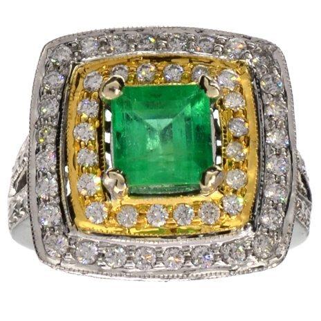 APP: 12k *14kt Wt Gold, 2CT Emerald & 1CT Diamond Ring