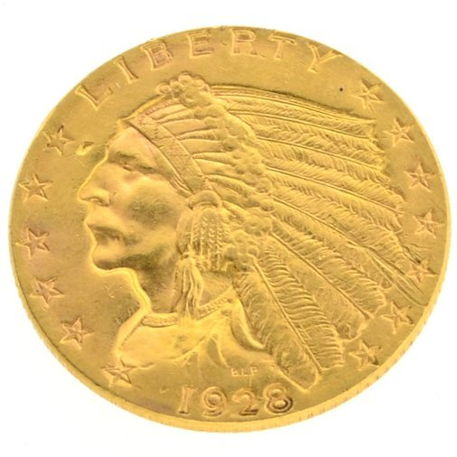 1928 $2.50 U.S. Indian Head Gold Coin - Investment