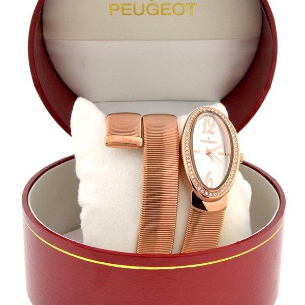Women's Peugeot Diamond Stainless Spiral Snake Watch