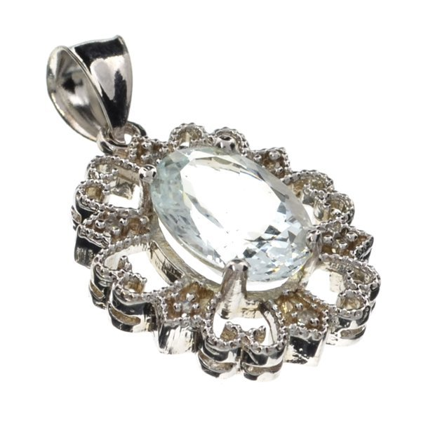 APP: 10k 14kt Wt Gold, 5CT Aquamarine & Diamond Pendant