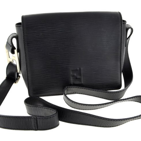 Authentic Fendi Small Black Leather Shoulder Bag Italy