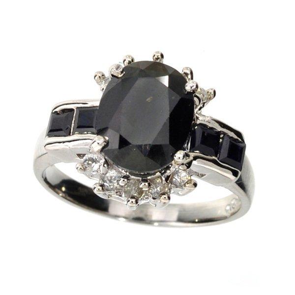 APP: 4k 4CT  Sapphire & Topaz Sterl Silver Ring