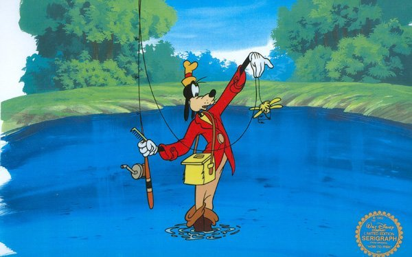 Disney Serigraph Cell, Goofy How To Fish w/Certificate