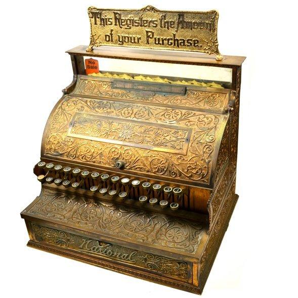 National Cash Register 28 Keys Fine Bronze Cabinet