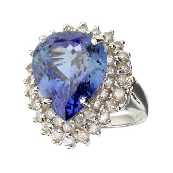 APP: 40k 14kt White Gold, 9 CT Tanzanite & Diamond Ring