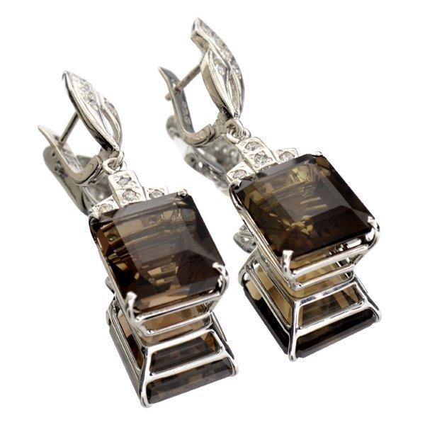 APP: 3k 30CT Emerald Cut Smoky Quartz & Silver Earrings
