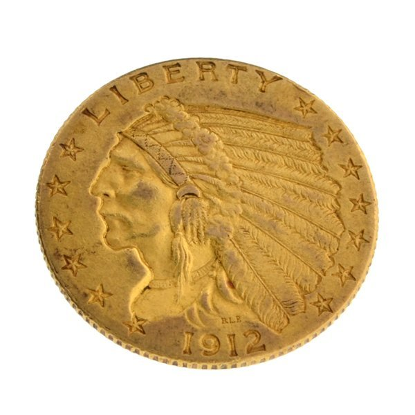 *1912 $2.50 U.S. Indian Head Gold Coin - Investment