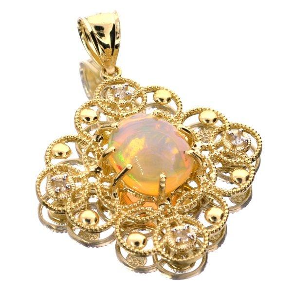 APP: 5k 14kt Yellow/Wt Gold, 3CT Opal & Topaz Pendant