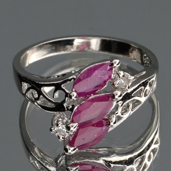 APP: 1k 1CT  Ruby & Topaz Plat Over Sterl Silver Ring