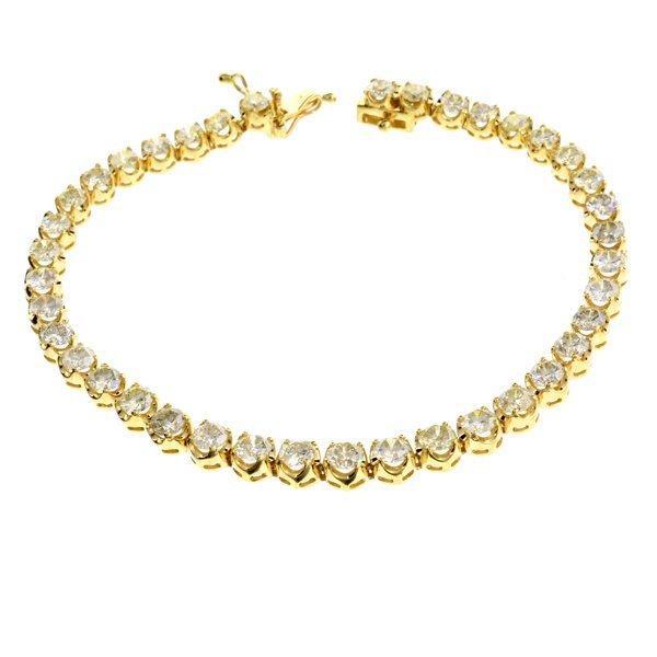 APP: 18k * 14kt Gold, 7CT Round Cut Diamond Bracelet