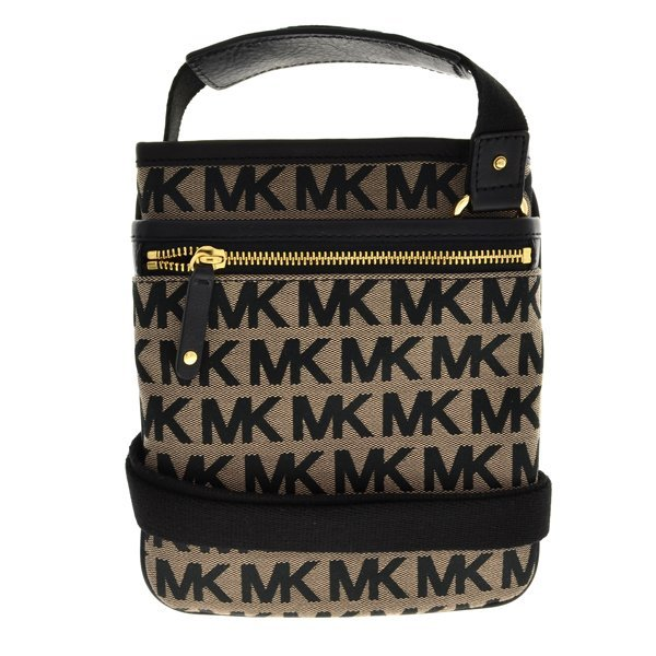 Michael Kors Beige Black MK Signature Jacquard Sm Bag