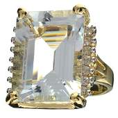 APP 29k 14kt WtYl Gold 22CT Aquamarine  Topaz Ring