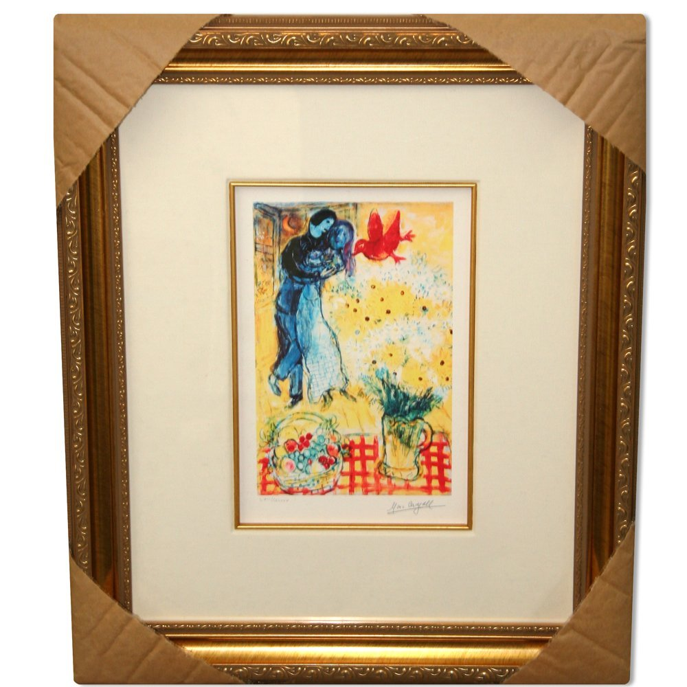 Chagall 'Lovers & Daisies' Museum Framed Giclee-Ltd Edn