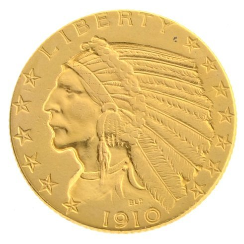1910 $5.0 U.S. Indian Head Gold Coin - Investment