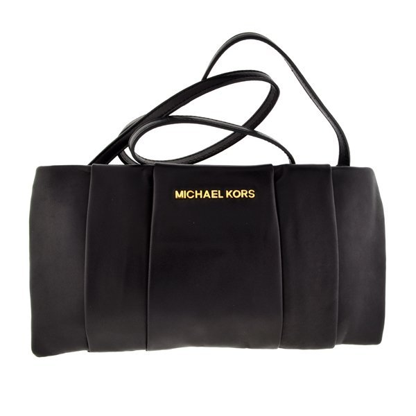^Brand New Michael Kors Daria Black Leather Clutch