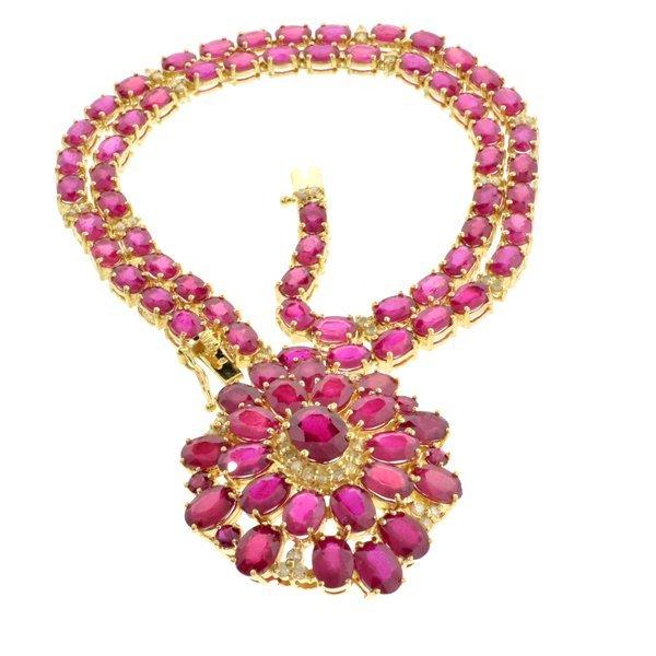 APP: 35k * 14kt Gold, 68CT Ruby & 1CT Diamond Necklace