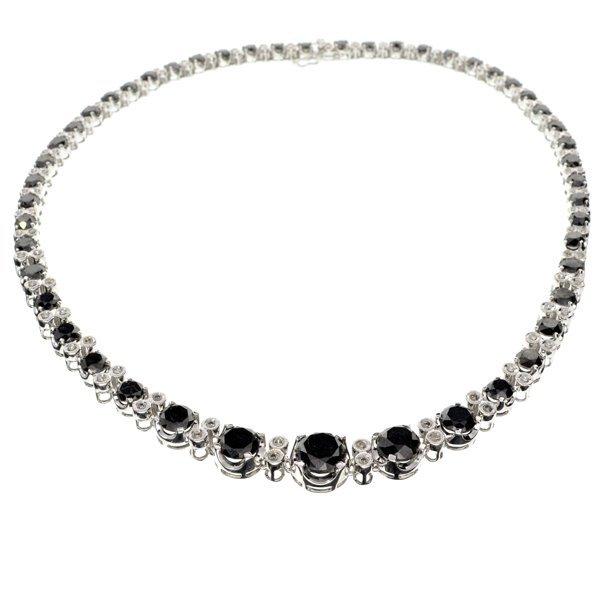 APP: 29k *14kt White Gold, Black & WT Diamond Necklace