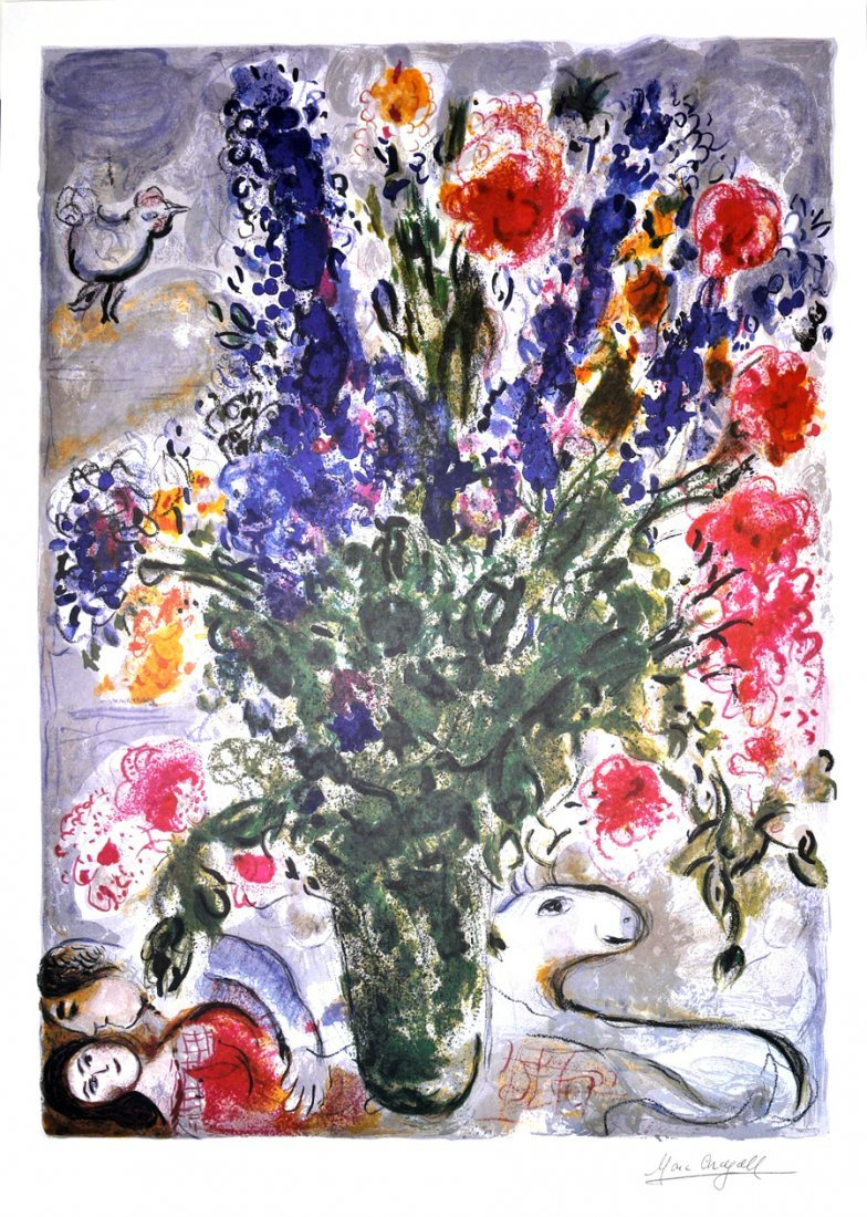MARC CHAGALL Les Lupins Bleu Print, Limited Edition