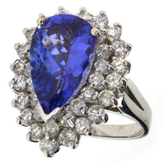 APP: 13k *14kt Wt Gold, 3CT Tanzanite & Diamond Ring