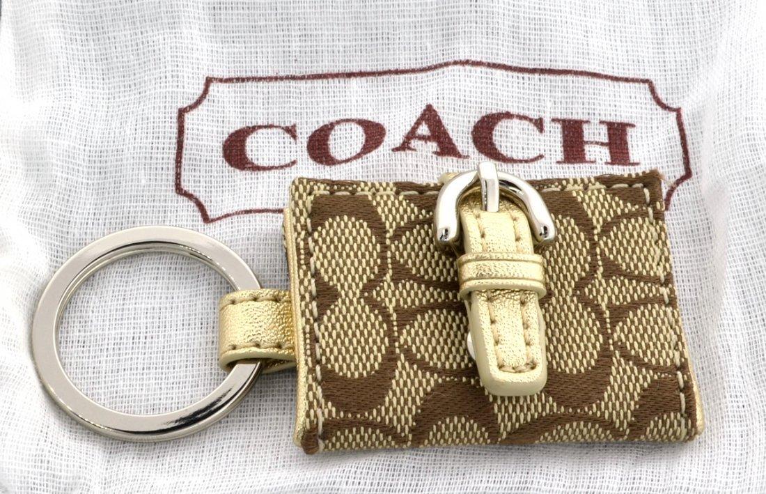 New Coach Signature Photo Frame Khaki Gold Key Fob