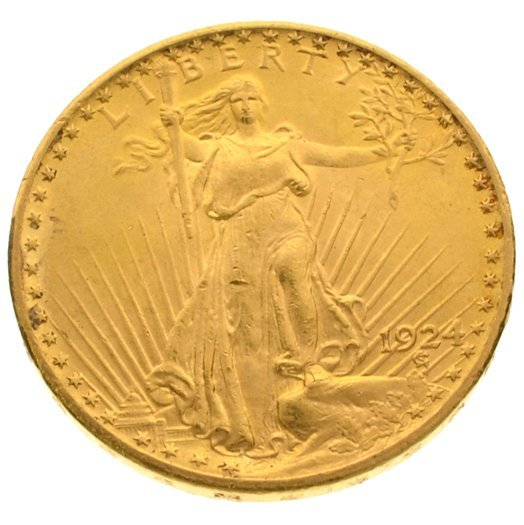 *1924 $20 U.S. Saint Gaudens Gold Coin - Investment