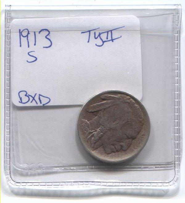 *1913-S TYll Buffalo Nickel Low Mintage - Key Date Coin
