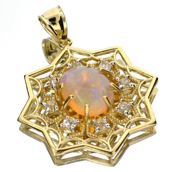 APP: 4k 14kt Yellow & Wt Gold, 3CT Opal & Topaz Pendant