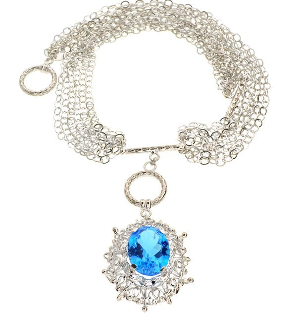 APP: 3k 22CT  Oval Cut Topaz Sterl Silver Necklace