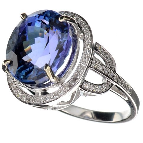 APP: 30k *14kt Wt Gold, 10CT Tanzanite & Diamond Ring