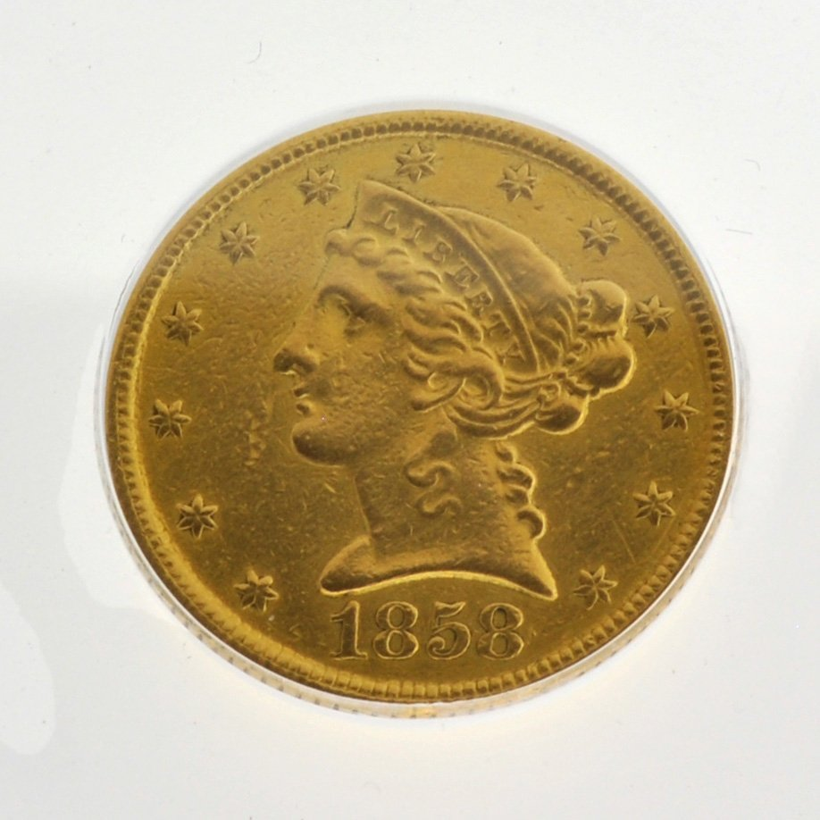 1858-C $5 U.S Liberty Head Type Gold Coin - Investment