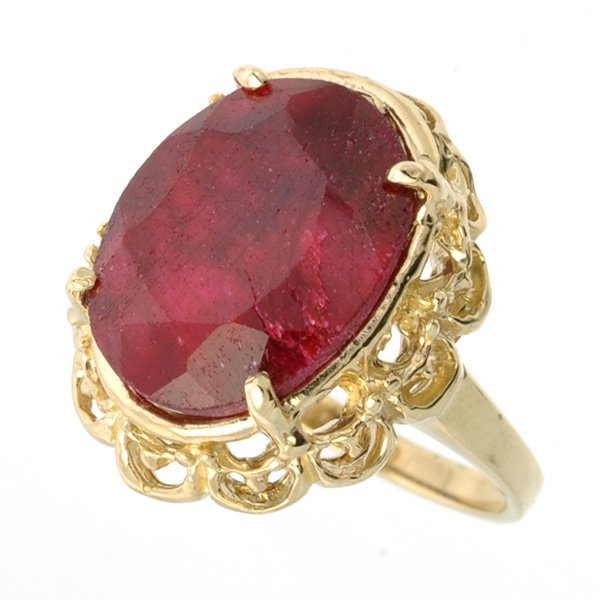 APP: 3.8k 14 kt Gold, 7.42CT Oval Cut Ruby Ring