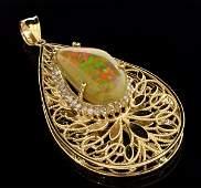 APP 46k 14kt Gold Crystal Opal  Diamond Pendant