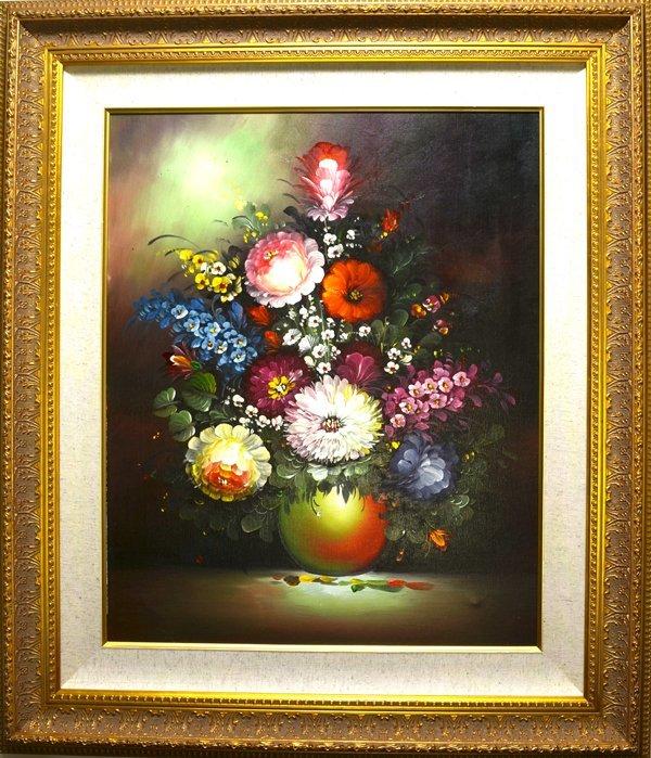 "Framed 30"" x 33"" Flowers in a Vase Original Painting"