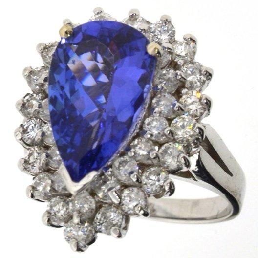 APP: 13k *14kt Wt Gold, 3CT Tanzanite Diamond Ring