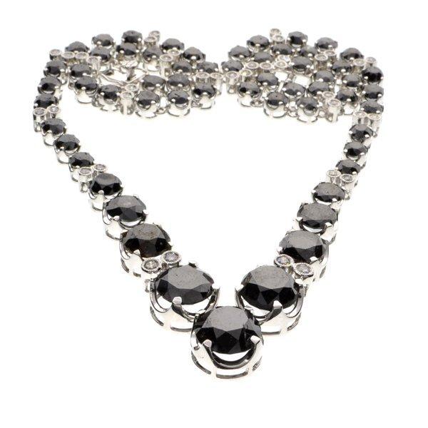 APP: 31k *14kt Wt Gold, 37CT Black/Wt Diamond Necklace